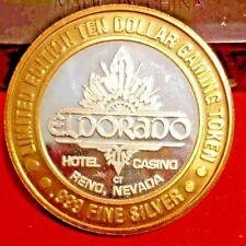 ELDORADO HOTEL & CASINO  $10 .999 SILVER TOKEN LTD EDITION RENO NEVADA