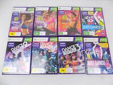 Xbox 360 8x Dancing Games Bundle Just Dance 3 - 4 + Zumba Rush + Core +++