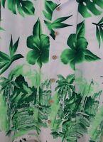 Kennington LTD Hawaiian Men's Aloha Shirt Hula Girls Hibiscus Green White Large