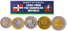 5 DOMINICAN REPUBLIC COIN DIFFER COLLECTIBLE CARIBBEAN COINS FOREIGN CURRENCY