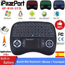 iPazzPort 2.4G Teclado Inalambrico Español 3 Color Retroiluminados Touchpad Mini