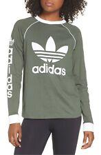 NWT Women's Adidas Originals Trefoil OG Long-Sleeve Tee Top Shirt Sage Green XS