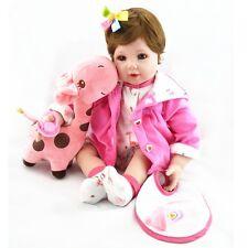 "22"" Reborn Baby Girl Soft Silicone Vinyl Lifelike Dolls Plush Toys Hairband gift"
