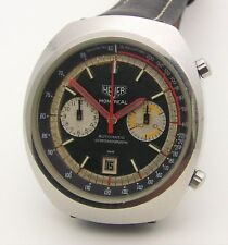 Vintage Huge 43mm SS Heuer Montreal Automatic Chronograph Cal 12 Chronomatic