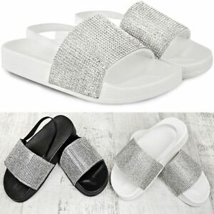 Kids Childrens Girls Flat Diamante Summer Sliders Sandals Flip Flops Beach Size