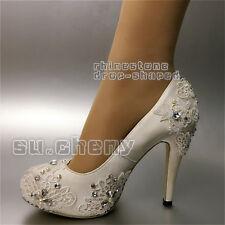 """3"""" 4"""" heel white ivory satin lace close toe ribbon ankle Wedding shoes size 5-11"""