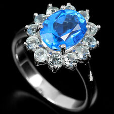 Natural Swiss & Sky Blue TOPAZ Stones 925 STERLING SILVER RING S6.75