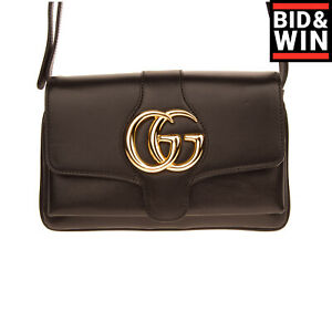 RRP€1635 GUCCI Leather Crossbody Bag GG Logo Magnetic Flap Closure Made in Italy