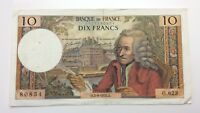 1970 Bank Of France Ten 10 Francs Uncirculated Banknote F201