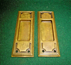 ONE PAIR of VINTAGE BRASS POCKET DOOR PULLS - VERY CLEAN SET  (13849)