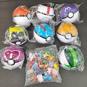 8 Pokemon Ball Set Pokeball GO Pikachu & 24 Action Figures Kids Toys Gift