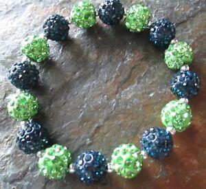 Seattle Seahawks- Bling- Crystal-Rhinestone-Navy Blue/Lime Green-Bracelet
