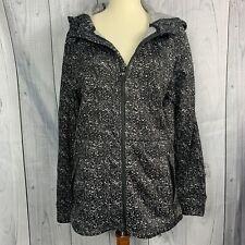 Iceburg Women's Hooded  Zip Up Jacket  Size Medium Black & White Zip Pockets
