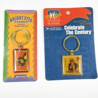 Lot of 2 Stamp Key Chains USPS I Want You Uncle Sam & Bright Eyes Cat SEALED new