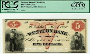 RARE Western Bank Philadelphia Pennsylvania. PCGS 63 PPQ Choice Uncirculated.
