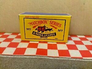 Matchbox Moko  Lesney No7 Horse Drawn Milk Float EMPTY Repro box only  NO CART