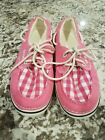 Crocs Pink Checked Canvas Boat Shoe Size W6