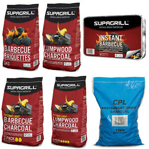 BBQ CHARCOAL BARBECUE BRIQUETTES COAL FUEL INSTANT LIGHT LUMPWOOD COOKING GRILL