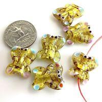 Handmade Lampwork Glass Pendant Yellow Golden Foil Butterfly Beads 19mm 6pcs(C4)