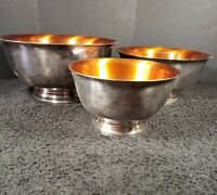 Vintage Wallace Set of 3 Footed Nesting Bowls Silver Plate Copper Color Enamel