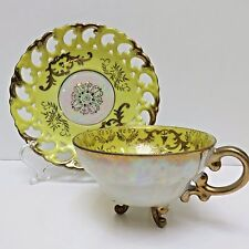 Royal Sealy Footed Teacup & Saucer Japan Open Weave Yellow Gold Iridescent White