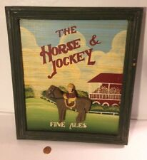 """PAINTED PICTURE ON WOOD with Wood Frame~Carved Horse & Jockey~ Fine Ales~11""""x13"""""""