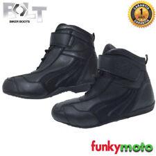 Botas negras de cuero sintético para motoristas, para hombre