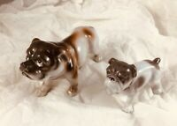"Vtg Bull Dog Figurines - Porcelain / Ceramic - Made in Japan - 2.5"" 3"" Tall"