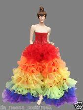 Da NeeNa RBCC Vegas Organza  Rainbow Gay Pride Ruffle Corset Skirt XS-XL