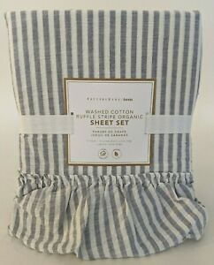 Pottery Barn PB Teen Washed Cotton Ruffle Stripe Organic twin or XL sheet set