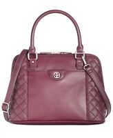 Giani Bernini Quilted Dome Satchel Wine Silver