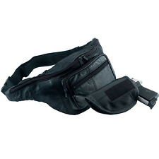 Black Genuine Leather Belt Bag Waist Bag Fanny Pack Gun Holder Concealed Holster