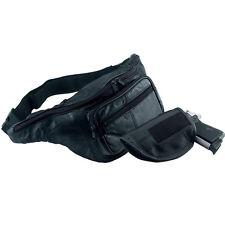 Black Genuine Leather Belt Bag Waist Bag Fanny Pack Gun Holder Concealed Holster