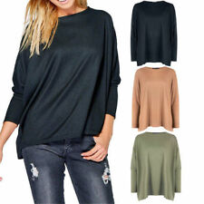 Patternless Crew Neck Long Sleeve Jumpers & Cardigans for Women