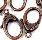 31x18mm X- Large Antique Copper Pewter Lobster Claw Clasps (5) ~ Lead-Free