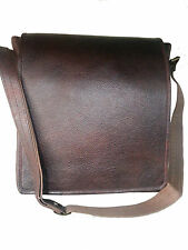 Unisex Office Brown Black Genuine Leather Sling Messenger Shoulder Laptop Bag