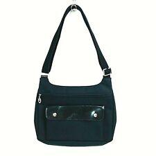 Longchamp Black Noir Planètes CrossBody Messenger Bag Vinyl Creased Leather Flap