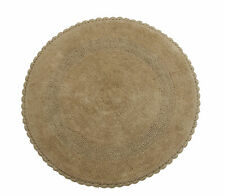 36 Inch Round, Reversible, Cotton, Hand Knitted Crochet Lace bath Rug, Beige