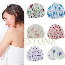 Women Lady Waterproof Elastic Plastic Shower Bathing Bouffant Salon Hair Cap Hat