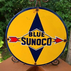 "VINTAGE ""BLUE SUNOCO GASOLINE"" 11 3/4"" PORCELAIN METAL GAS SIGN! SUN OIL COMPANY"