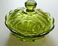 Vintage Fostoria Olive Green Coin Glass Low Large Covered Bowl Dish With Lid