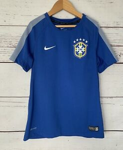 NIKE DRI FIT Jersey CBF Brazil Brasil Soccer Futbol Size Small Youth Blue