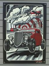 MAX GRUNDY SIGNED NUMBERED SCREEN PRINT POSTER  1933 34 FORD HOT ROD ART ATOMIC