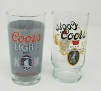 Lot of 2 Vintage Coors Glasses Coors Light Beer & Coors Premium Beer Man Cave