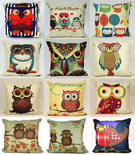 "Owl Cushion Covers or Filled Cushions Vintage Cotton Linen 17""X17"" Many Designs"