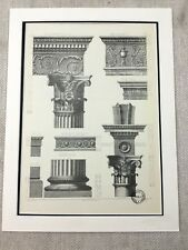 1851 French Architectural Print Church Cathedral Transept Capitals Columns Plan Art Prints