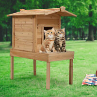 Cat House Natural Wood with A Platform Open Balcony Log Cabin for Small Pet Cat