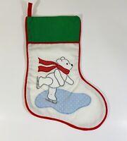 Casita Crafts Fabric Christmas Stocking Polar Bear Red Green Ice Skating Holiday