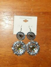 Yellow Round Sexy Party Earrings Beautiful Womens Christopher& Banks Silver