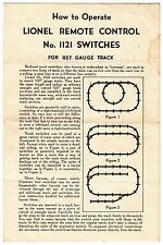 [55679] 1950 LIONEL TRAINS REMOTE CONTROL No. 1121 SWITCHES FOR 027 INSTRUCTIONS